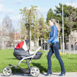 Stock Photo: Womwith pram on walk