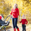 Mother and her daughter with a pram on walk in autumnal alley — Foto Stock