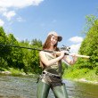Woman fishing in river, Czech Republic - Stock Photo