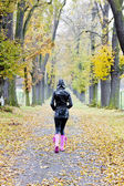 Woman in autumnal alley — Stock Photo