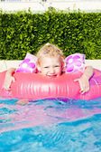 Little girl with rubber ring in swimming pool — Stock Photo