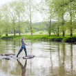 Woman fishing in Sazava river, Czech Republic — Stock Photo