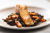 Salmon fillet with lentils and carrot — Photo