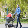 Woman with a pram on spring walk — Stock Photo #25050337