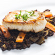 Royalty-Free Stock Photo: Pikeperch fillet with lentils and carrot