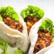 Pita bread filled with Mexican mixture - Stock Photo