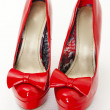 Fashionable platform red pumps — Stock Photo
