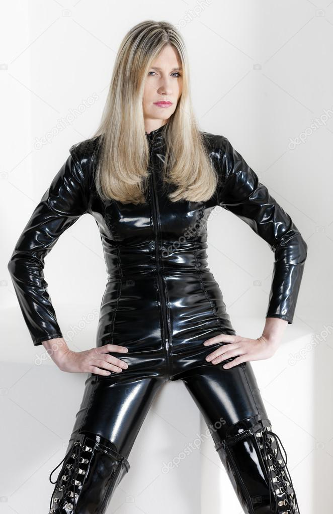 Female wearing rubber female mask solo play