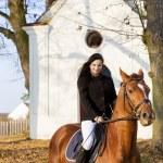 Equestrian on horseback, Lomec, Czech Republic — Stock Photo