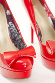 Fashionable platform red pumps — Stock fotografie