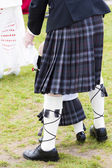 Detail of man and child wearing kilt, Scotland — Stock Photo