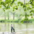 Woman fishing in Sazava river, Czech Republic — Photo