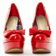 Stock Photo: Fashionable platform red pumps
