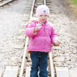Little girl at Ravenglass and Eskdale narrow gauge railway, Cumb — Photo