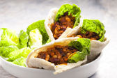 Pita bread filled with Mexican mixture — Stock Photo