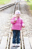 Little girl at Ravenglass and Eskdale narrow gauge railway, Cumb — Stock Photo