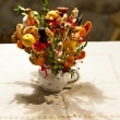 Old fashioned Christmas decoration on table — Stock Photo