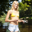 Stock Photo: Woman fishing in Jizera river, Czech Republic