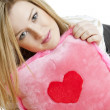 Woman holding a pillow — Stock Photo #2799131