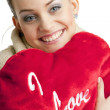 Woman holding a heart — Stock Photo #2799367