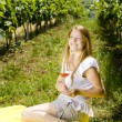 Woman at a picnic in vineyard — Stock Photo