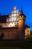 Malbork at night, Pomerania, Poland — Stock Photo