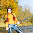 Woman fishing in Otava river, Czech Republic — Stock Photo