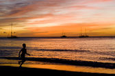 Sunset over the Caribbean Sea, Grand Anse Bay, Grenada — Stock Photo