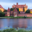 Malbork at night, Pomerania, Poland — Stock Photo