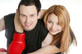 Portrait of couple with boxing gloves — Stockfoto
