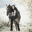 Equestrian with her horse  — ストック写真