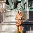 ������, ������: Woman standing by Johann Wolfgang Goethes statue Vienna Aust