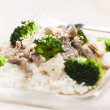 Pork meat with broccoli and rice — Stock Photo