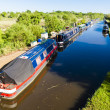Houseboats on canal, Oxfordshire, England — Stock Photo