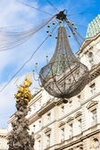 Graben Street at Christmas time with Plague Column, Vienna, Aust — Stock Photo