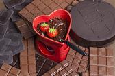 Chocolate fondue — Stock Photo