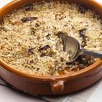 Pot barley with mushrooms (called kuba - Czech meal) — Stock Photo