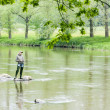 Stock Photo: Womfishing in Sazavriver, Czech Republic