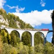 Stock Photo: Train on RhaetiRailway, Landwasserviadukt, canton Graubunden,