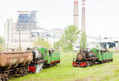 Steam freight train and locomotive, Kostolac, Serbia — Foto de Stock