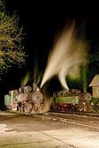 Steam locomotives at night, Oskova, Bosnia and Hercegovina — Stock Photo