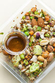 Legume salad with almonds — Stock Photo