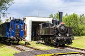 Steam locomotive in depot — Stock Photo