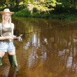 Stock Photo: Womfishing in Jizerriver, Czech Republic