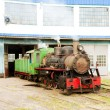 Stock Photo: Steam locomotive in depot