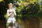 Woman fishing in Jizera river — Stock Photo
