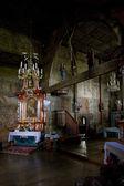 Interior de la iglesia de madera — Foto de Stock