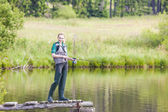 Young woman fishing — Stock Photo