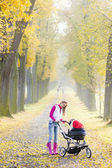 Woman with a pram on walk — Stock Photo