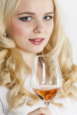 Woman with  wine — Stock Photo